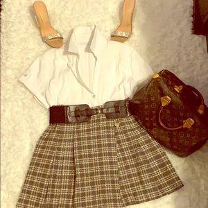 Vintage front pleaded wraparound skirt